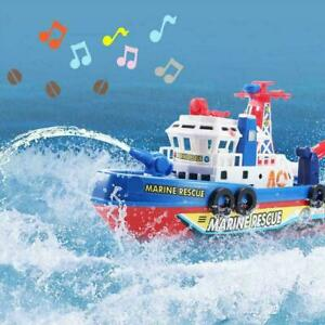 1*Electric Fire Boat Kids Bath Toys LED Flashing Light Up C4R3 W/ UK Music N5C9