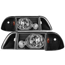 Ford 87-93 Mustang Black Replacement Headlights Corner Lamps GT LX SVT