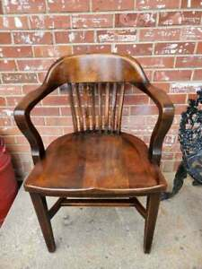 Vintage Mahogany Bankers Office Armchair Desk Chair
