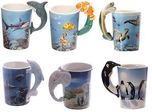 1 Kaffeebecher Haie Schildkröten Clownfische Elefanten Delfine Tasse Tassen