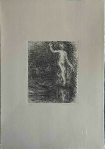 LUIGI BROGGINI acquaforte 1983 50x35 Figura  firmata numerata 7/100