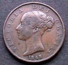 1848 RARE DATE Victoria copper halfpenny. Reasonable grade.