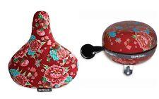 Set Fahrradklingel Glocke Basil St Ding-Dong  mit Satteldecke Basil Blume rot