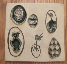 "Vintage Bennington Potters Vermont ceramic trivet eggs/birds modernist 1535 8"""