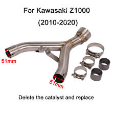 Motorcycle Delete Cat Mid Pipe Connect Link Tips For 2010-2020 Kawasaki Z1000