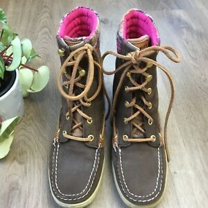 SPERRY TOP SIDER Tan Leather & Pink Plaid Textile Winter Boots sz 6.5