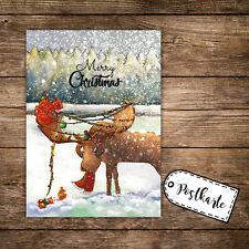 A6 Postkarte weihnachtskarte Print Karte Elch & Spruch merry christmas pk122
