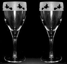 HALLOWEEN BOITE DE CADEAU PAIRE Verre à vin avec sorcière FRISE