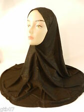 Black Shiny Soft One Piece Big Plain Muslim Hijab Head Cover Scarf Slip-On