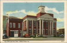 Clifton Forge VA City Hall & Fire Dept Linen Postcard