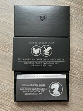 More details for american eagle 2021 one ounce silver reverse proof two-coin set designer edition