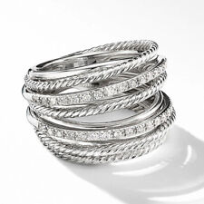 925 Silver Rings Infinity Jewelry Cubic Zirconia Women Party Band Ring Size 6-10