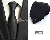 Mens Classic Black Paisley JACQUARD WOVEN Tie Necktie Wedding Party gift