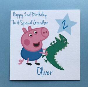Personalised George Peppa Pig Birthday Card - Grandson Nephew Son - 1st 2nd 3rd