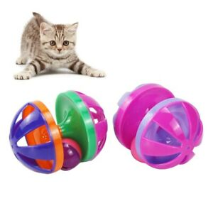 Interactive Pet Cat Kitten Scratch Training Game Dumbbell Bell Ball Playing Toy