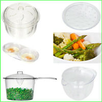 Microwave Easy Cook Cookware Clear Plastic Cooking Saucepan Pan Jar Plate Trays