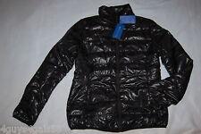 Womens Fall Winter BLACK PUFFER COAT Light Weight WARM Slick Sheen M 8-10