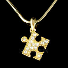 Jigsaw Puzzle Autism made with Swarovski Crystal Support Autistic Child Necklace