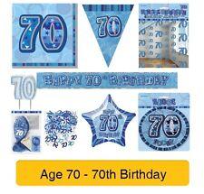 AGE 70 - Happy 70th Birthday BLUE GLITZ - Party Range, Banners & Decorations