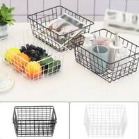 2pcs Bathroom Iron Storage Basket Metal Wire kitchen Tray Desk Mesh Basketry Box