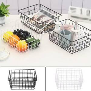 2pcs Bathroom Iron Storage Basket Metal Wire kitchen Tray Desk Mesh Basketry Box