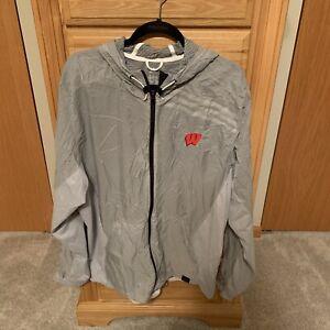 University of Wisconsin Badgers Adidas Authentic 3M Wind Rain Jacket - Gray - XL