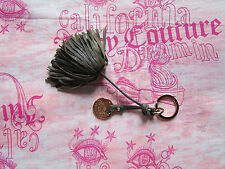 Juicy Couture Key Ring Purse Charm Gray Leather Tassel Scottie Dogs NWD