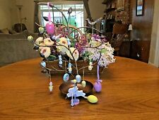 """Metal Easter Tree15""""  w/13 Wood Ornaments and Rabbit Carousel Piece & Egg Finial"""