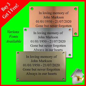 Memorial Plaque Personalised Plaques Engraved Copper/Silver/Gold Effect 11cmx6cm