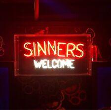 "Sinners Welcome Neon Light Sign Lamp Beer Pub 17"" Acrylic Box Decor Artwork"