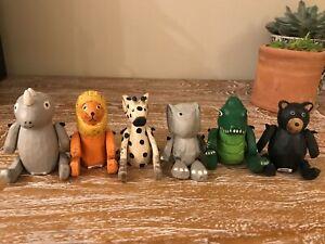 Set of 6 mini zoo wooden animals shelf sitters Noah's arc safari child puppets