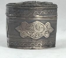 Vintage Dutch Sterling Oblong w/Applied Decoration Hinged Wedding/Spice Box
