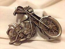 """Men's belt buckle motorcycle pewter-look brass, Bergamot Brass Works, 3.5"""" x 3"""""""