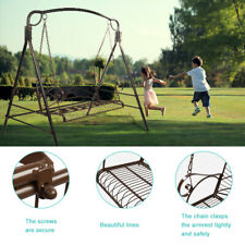 Outdoor Swing Patio Chair Garden Lounge 2-Person Seat Hammock Porch Bench Brown