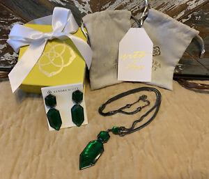 Kendra Scott Emerald Illusion Wyatt Necklace & Perla Earrings Gunmetal Rare Vntg