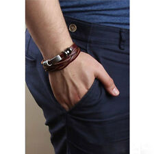 Fashion Vintage Men's Metal Steel Studded Surfer Leather Bangle Cuff Bracelet