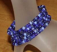 Sapphire Mix Beaded Wrap / Coil Bracelet Blue Glass Beads Memory Wire - USA Made