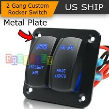 2-Gang 5Pin Car Marine Boat Waterproof Rocker Switch Panel Circuit Breaker Blue