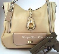 Concealment Purse New Style Cream Concealed Carry CCW Holster Gun Tote Purse