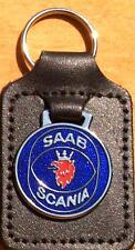 Saab Scania Keyring Key Ring - badge mounted on a leather fob