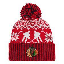 897f4a73097 adidas Chicago Blackhawks NHL Snowflake Player Cuffed Pom Knit Hat