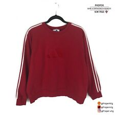 Vtg Adidas Crewneck Sweater Red Embroidered Mens Size Large L Fits Small/Medium