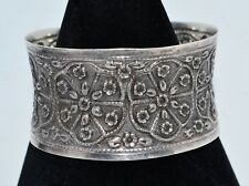 QVC Preowned STERLING SILVER Thai Wide Floral Unusual CUFF BANGLE - UK Hallmark