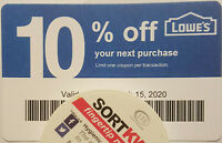 Twenty (20) LOWES Coup0ns 10% OFF At Competitors ONLY notLowes Exp Jun 15 2020