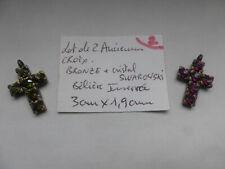 lot  2 ancienne croix differente  pendentif + cristal Swarovski crystal crucifix