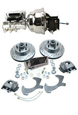 1957-64 FORD Galaxie Ford Cars Disc Brake Kit Drilled Rotors Chrome Booster Kit