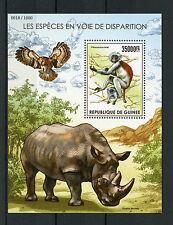 Guinea 2015 MNH Endangered Species 1v S/S Monkeys Rhinos Birds Owls Wild Animals