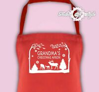 Personalised Any Name Christmas Grandma Kitchen Mum Festive Season Apron  Red