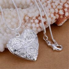New Heart Women Necklace Pendant Snake Chain Silver Sterling 925 Locket Crystal