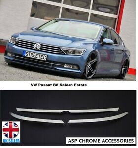 VW Passat B8 Saloon Estate Chrome Head Light Upper Trim 3 Pcs S.Steel 2014 up
